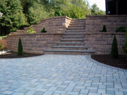 Patio area steps