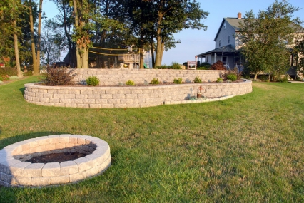 Raised flower bed and fire pit