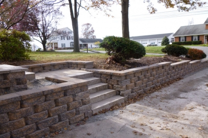 Driveway Retaining Wall with steps